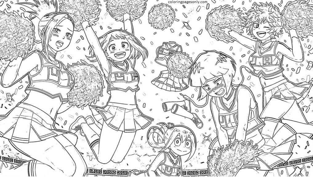 Girls from My Hero Academia Coloring Page