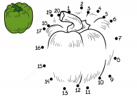 Connect the dots green pepper for kids Coloring Page