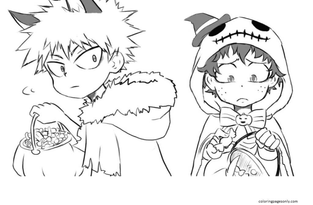 Halloween My Hero Academia Coloring Page