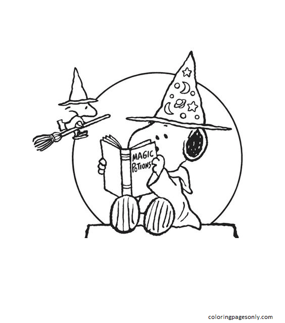 Halloween Snoopy Woodstock Coloring Page