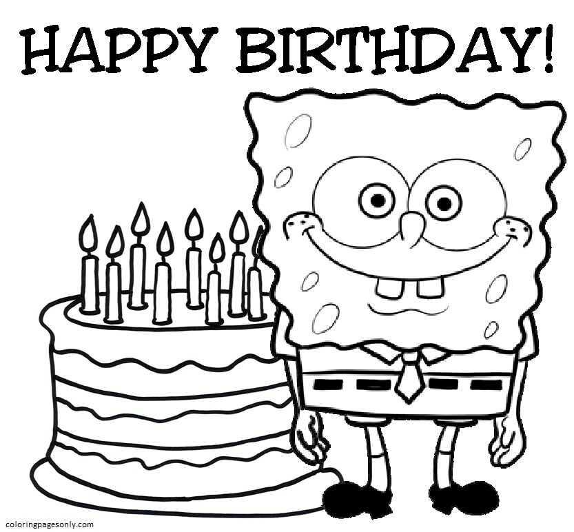 Happy Birthday Spongebob Coloring Page