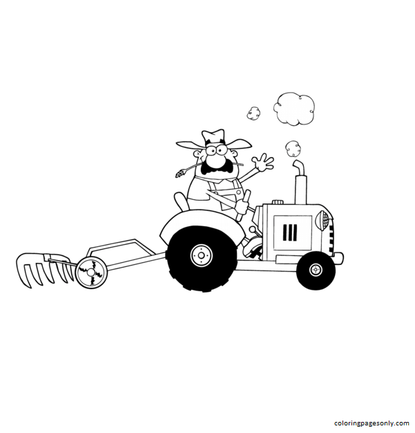 Happy Farmer Driving Tractor Coloring Page