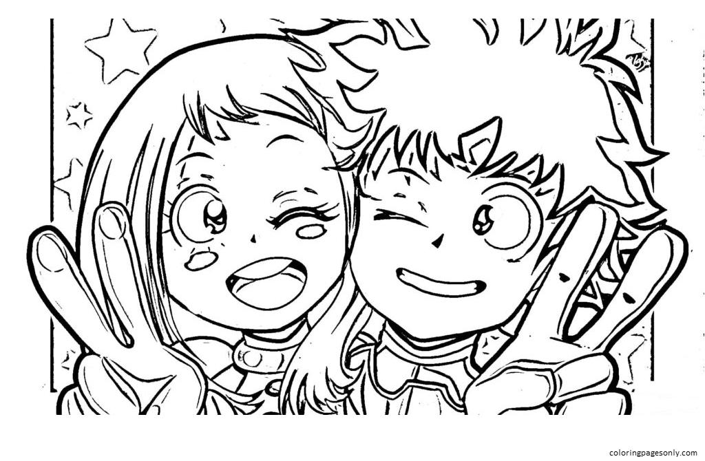 Happy Ochako Uraraka and Izuku Midoriya Coloring Page
