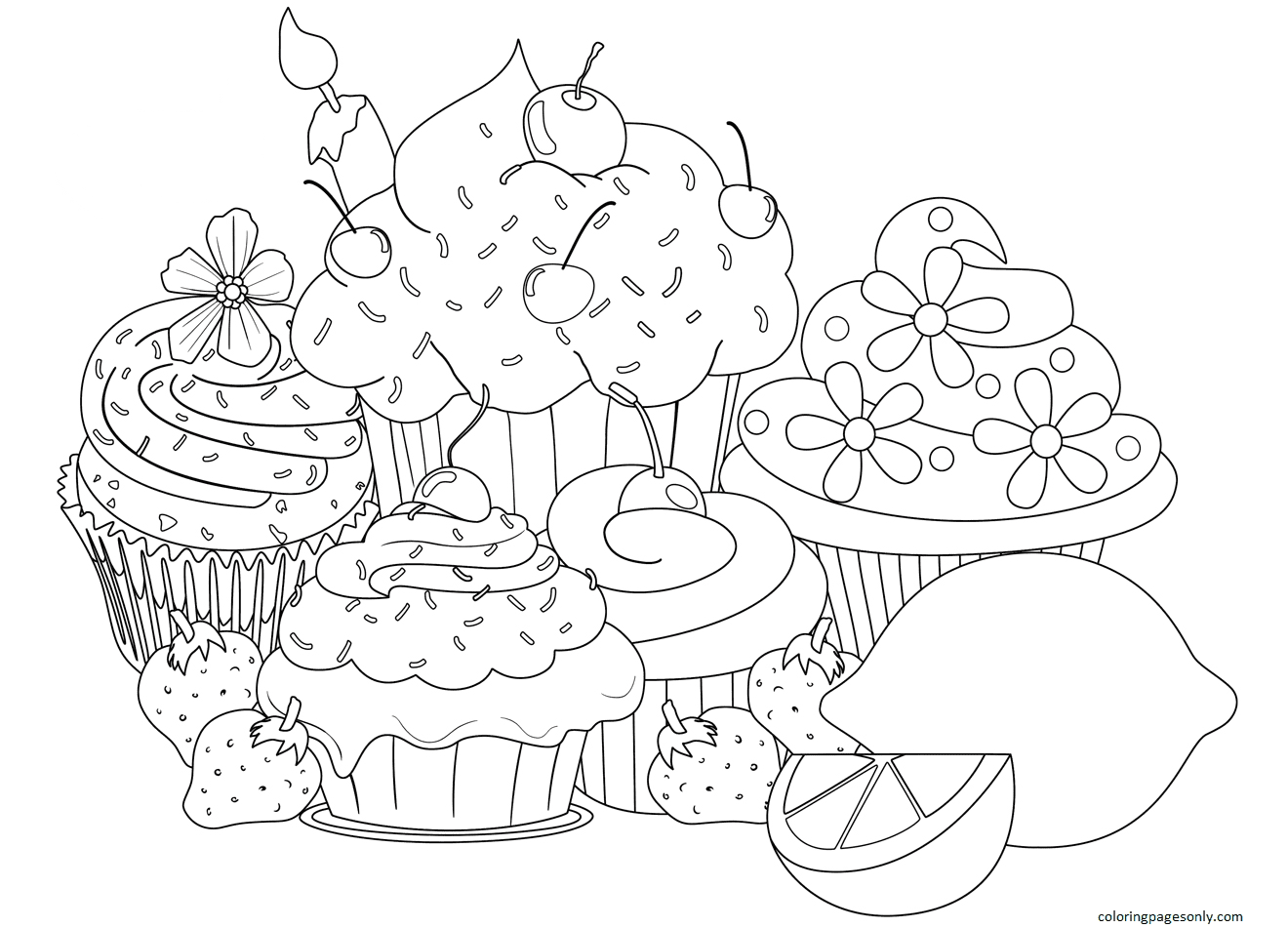 Hard Cupcake Coloring Page