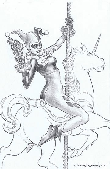 Harley Quinn 11 Coloring Page