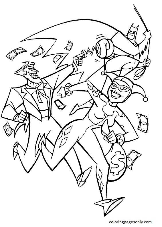 Harley Quinn and Joker 1 Coloring Page