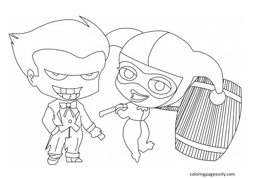 Harley Quinn and Joker 2 Coloring Page