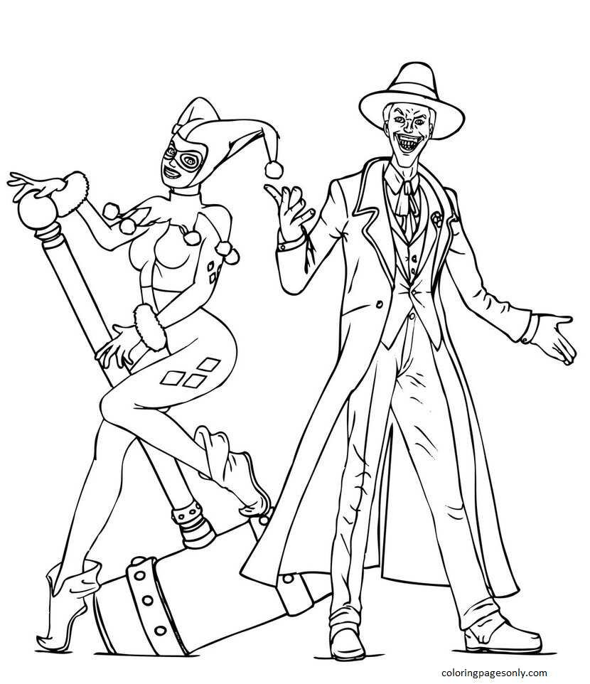 Harley Quinn and Joker 4 Coloring Page