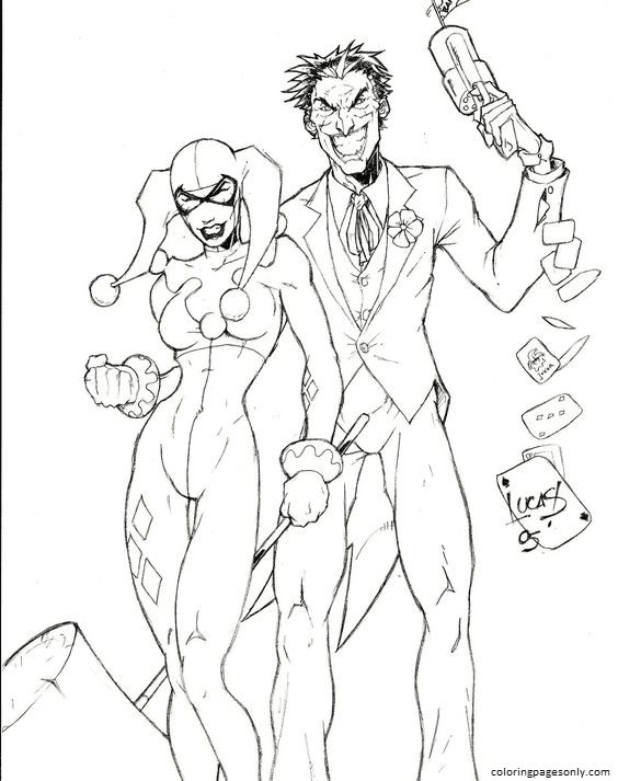 Harley Quinn And Joker 8 Coloring Page