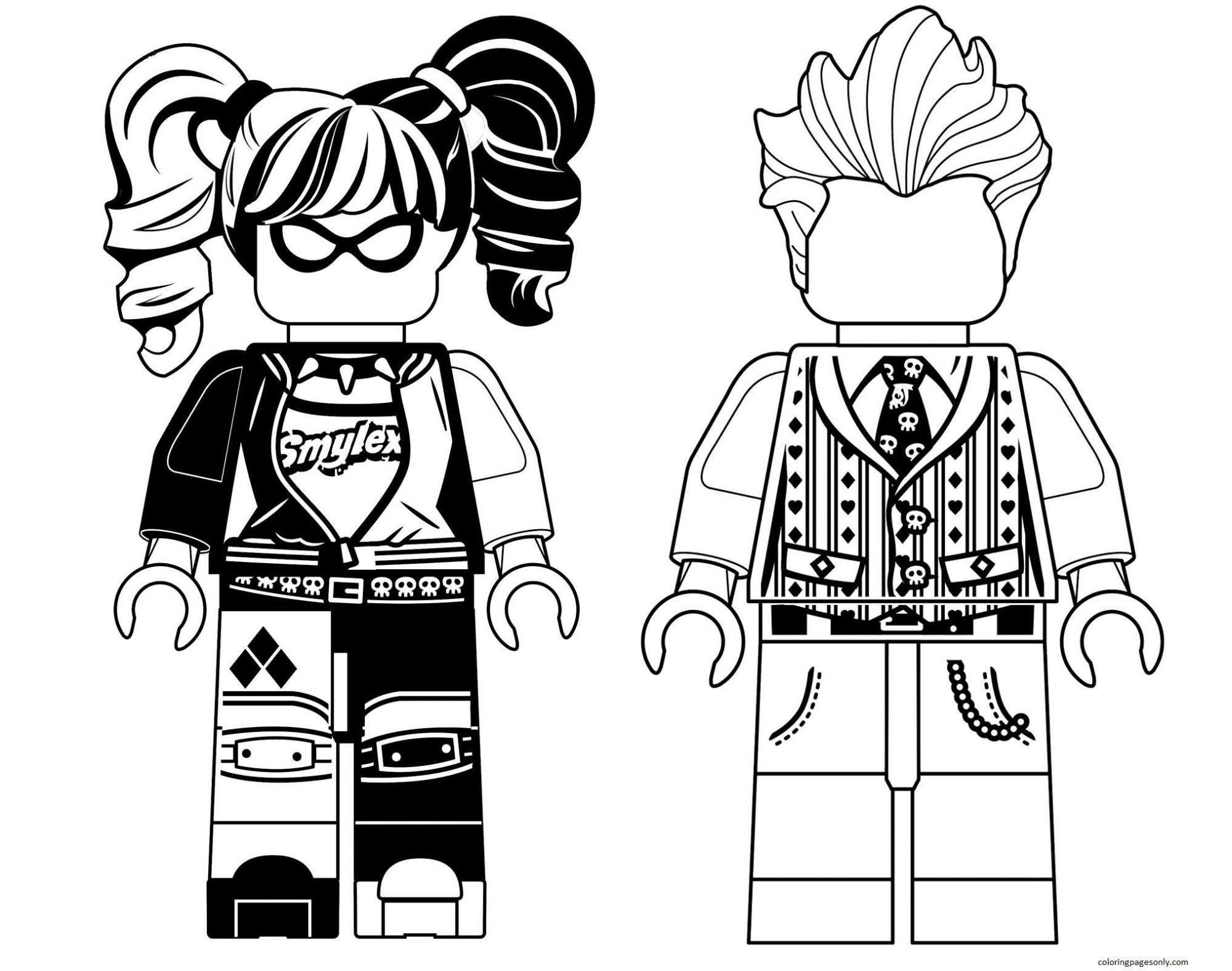 Harley Quinn and Joker Coloring Page