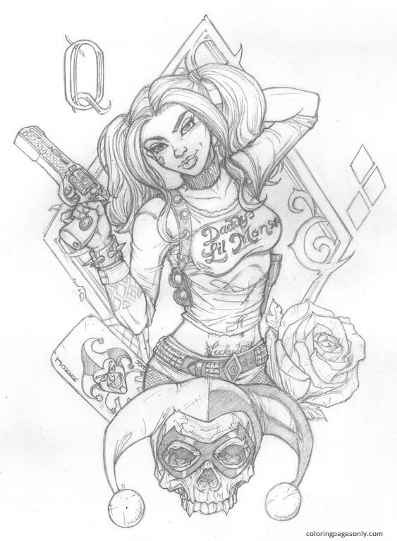 Harley Quinn Design Coloring Page