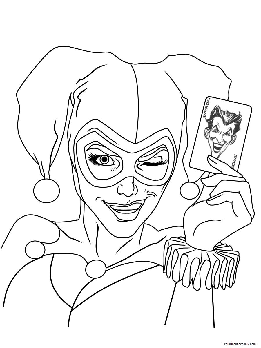 Harley Quinn Joker Card Dc Universe Coloring Page