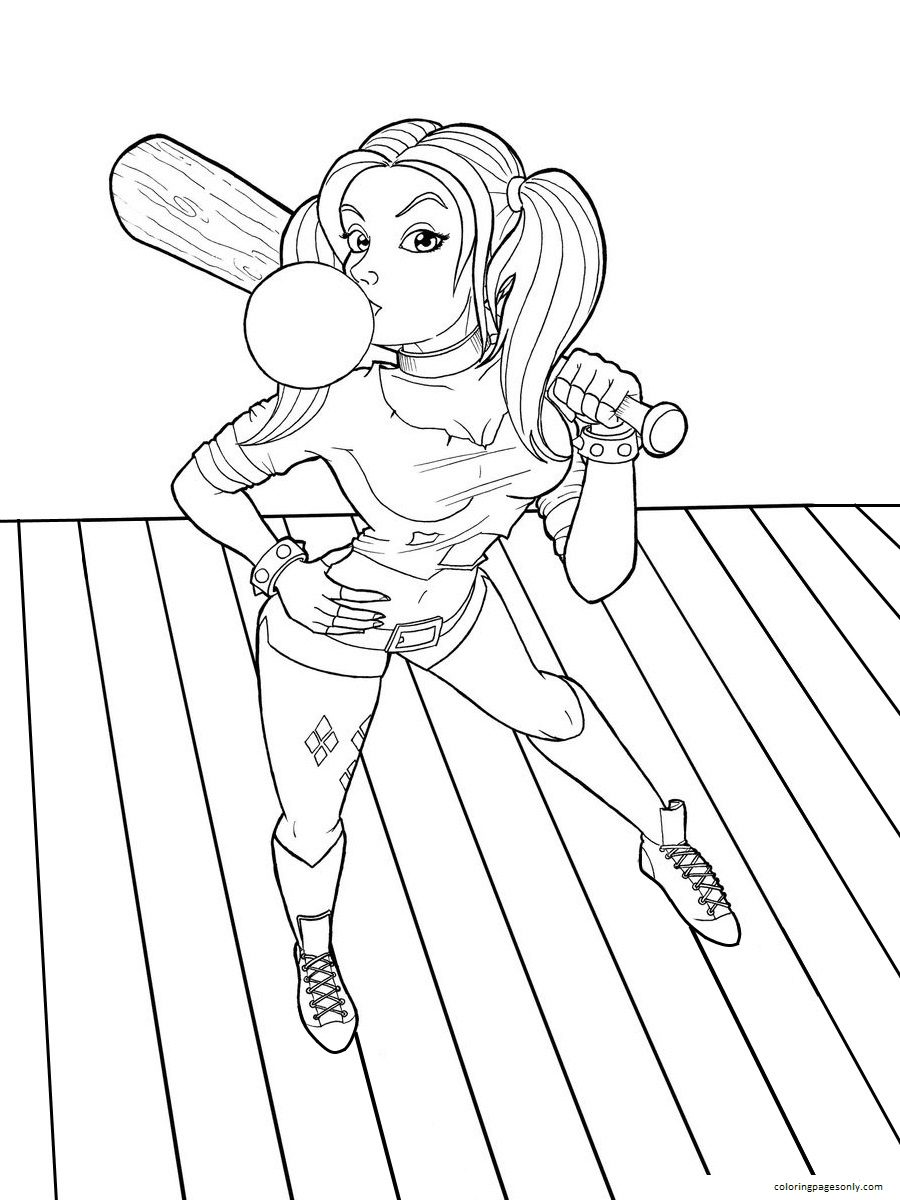 Harley Quinn Suicide Squad Joker Coloring Page