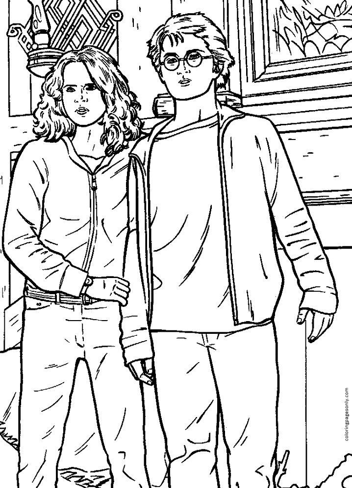 Harry and Hermione Coloring Page