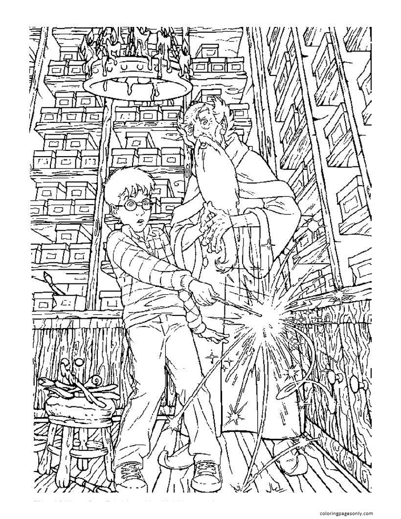 Harry Choosing Magic Wand Coloring Page