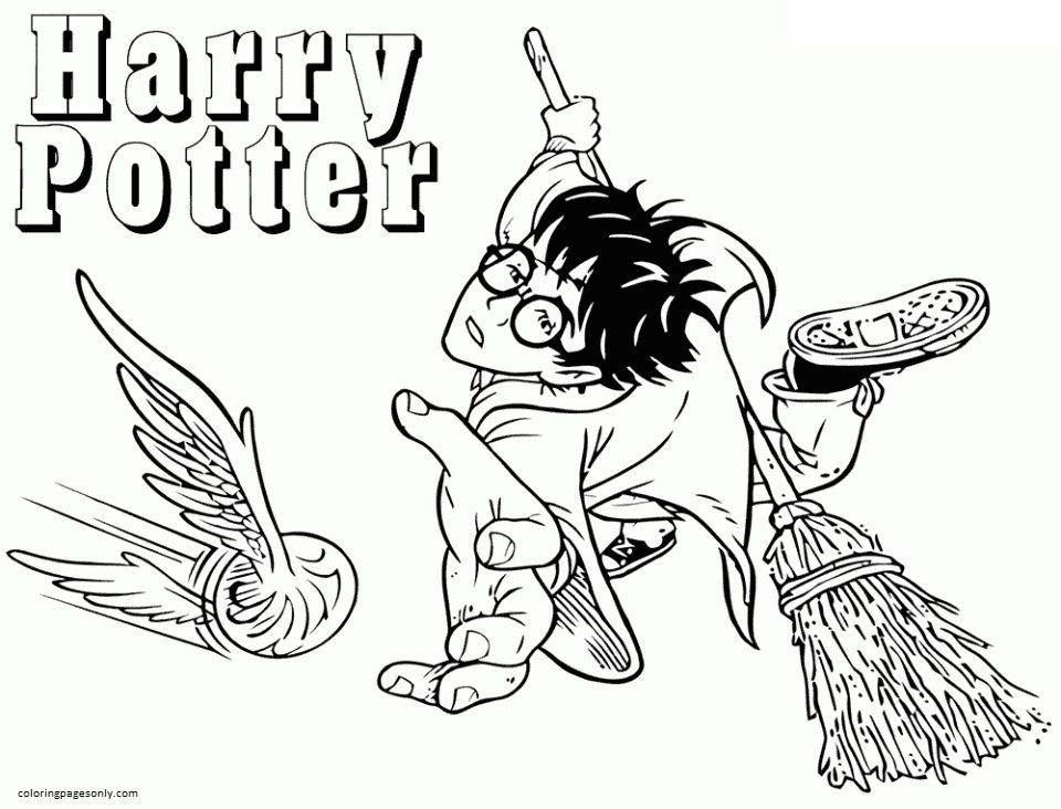 Harry Playing Quidditch Coloring Page