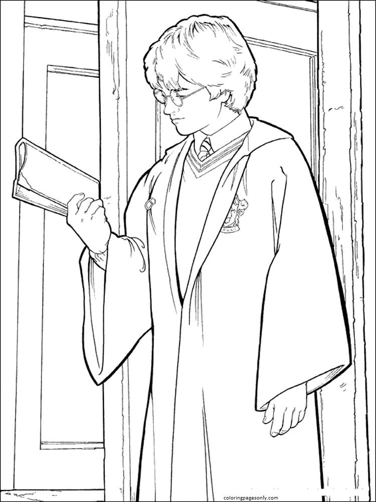 Harry Potter and Book Coloring Page