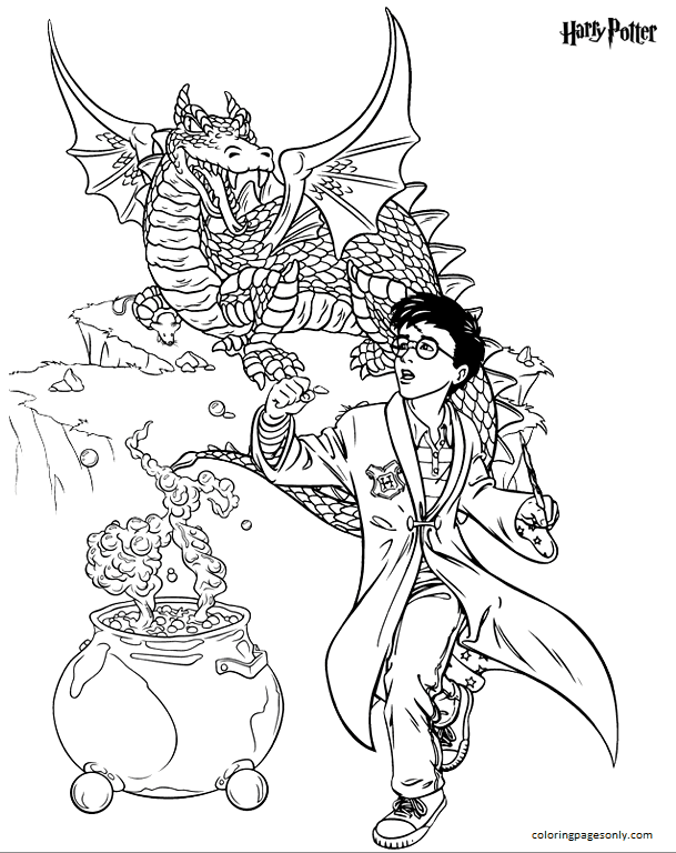 Harry Potter and Dragon Coloring Page