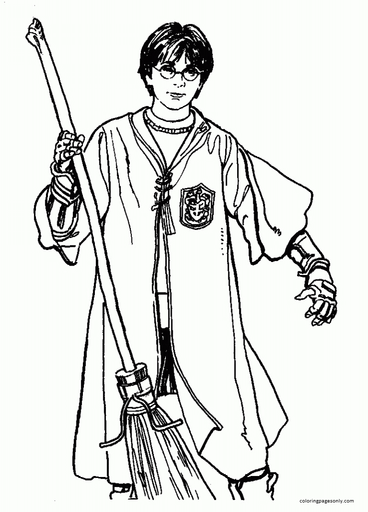 Harry Potter and Flying Broom Coloring Page