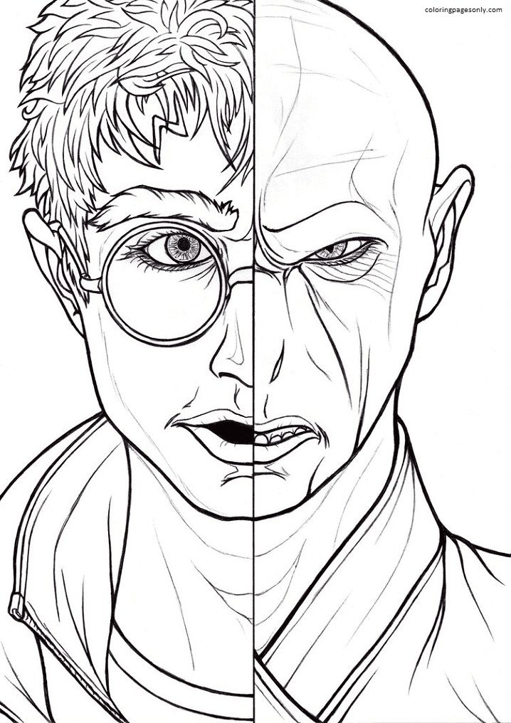Harry Potter and Voldemort Face Coloring Page