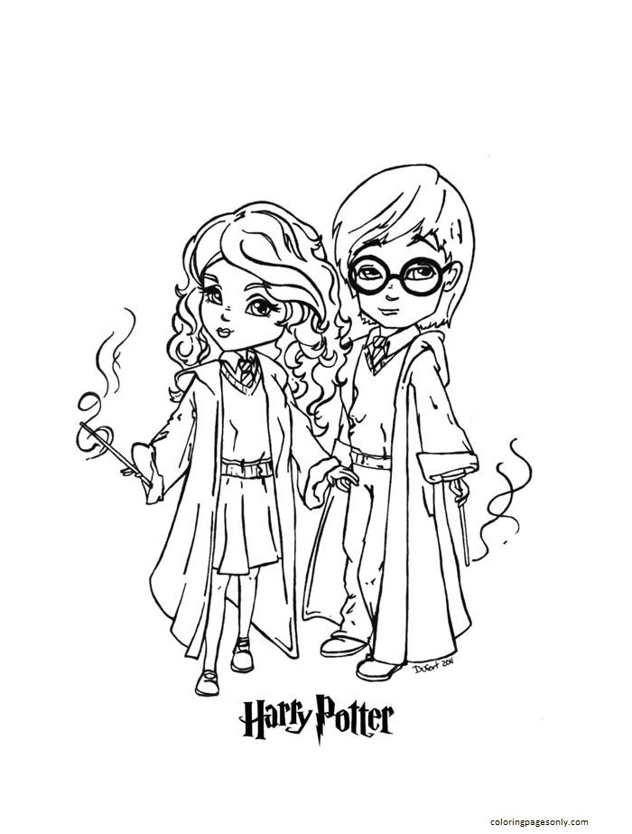 Harry Potter Chibi Coloring Page