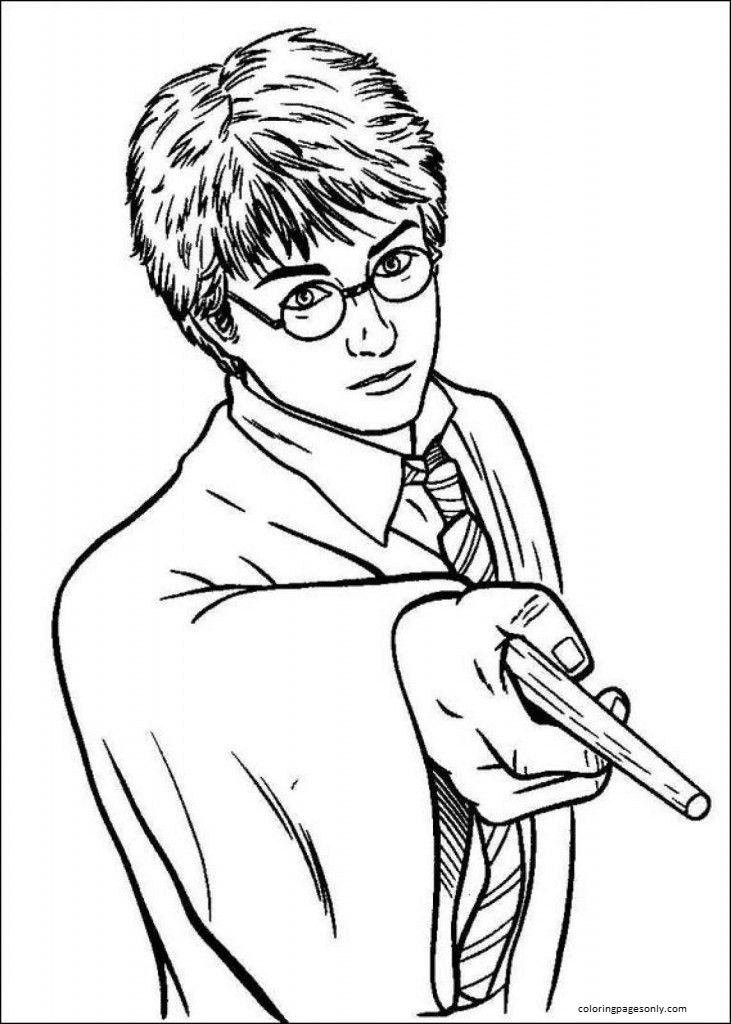 Harry Potter Holding Magic Wand 1 Coloring Page