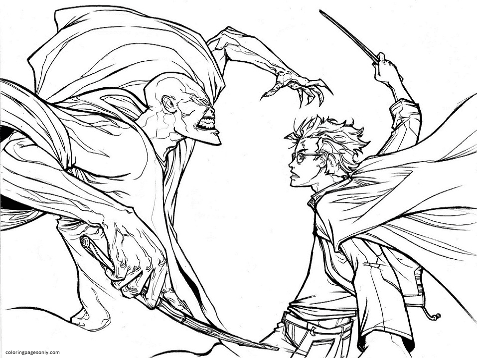 Harry Potter vs Voldemort Coloring Page