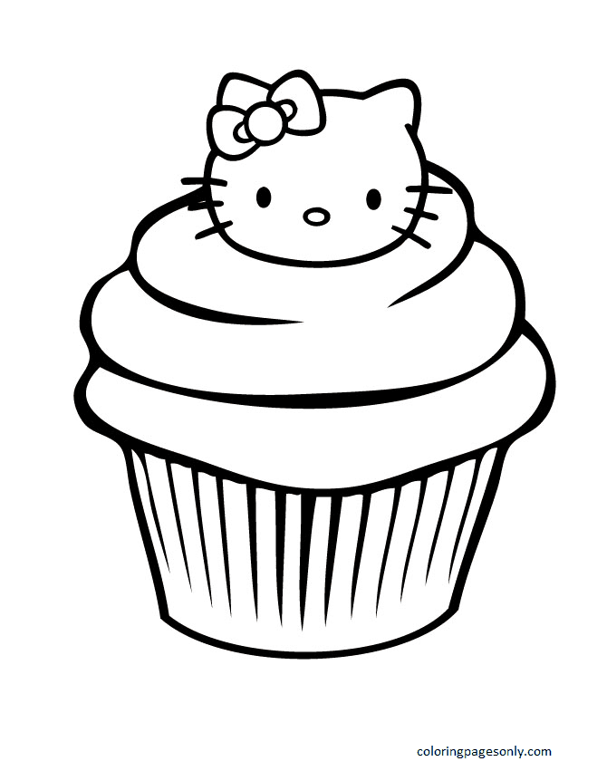 Hello Kitty Cupcake Coloring Page