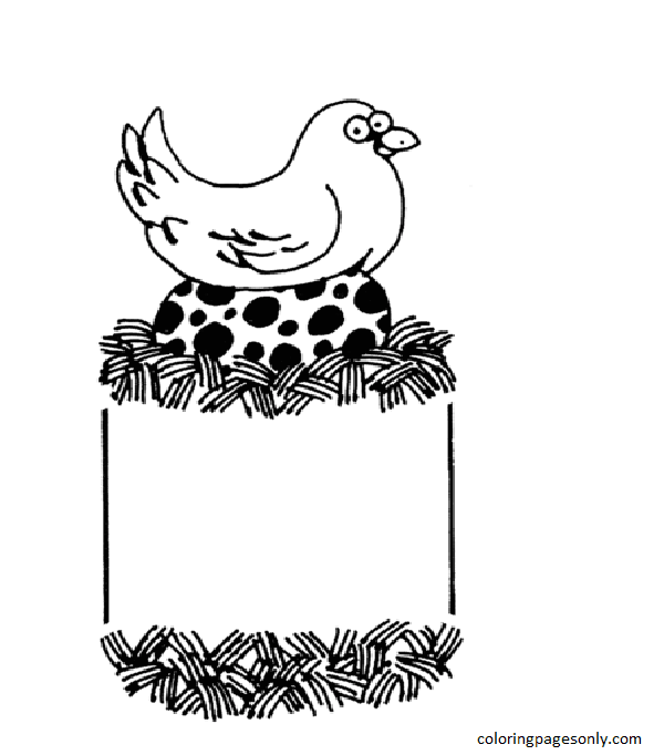 Hen hatching Big Egg Coloring Page