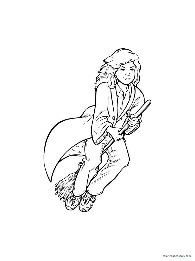 Hermione and the boom Coloring Page