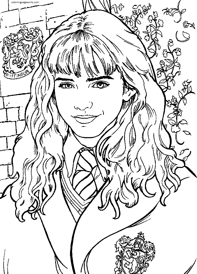 Hermione Smiling Coloring Page