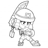 Heroine Bibi holds her sword from Brawl Stars Coloring Page