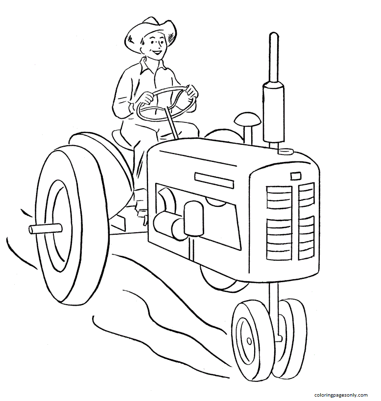 His Driving The Tractor Coloring Page