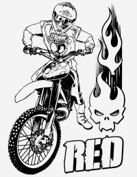 Hot Wheels Red team Motorcycle with rider Coloring Page