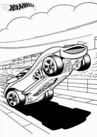 Hot Wheels car performs on raceway Coloring Page