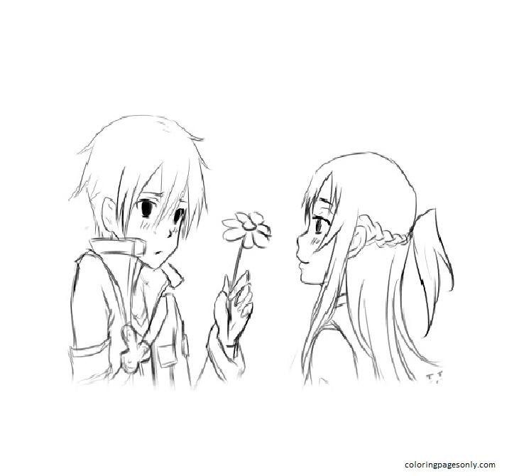 Images Asuna And Kirito Free Coloring Page
