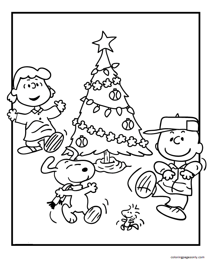 Images Snoopy Christmas Coloring Page