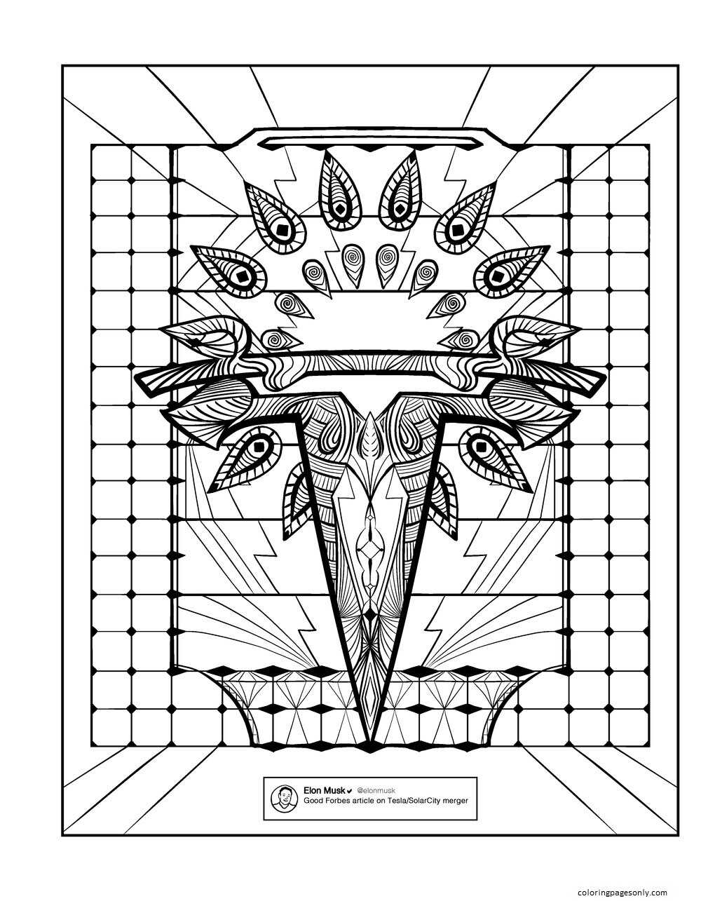 Inspiration of Elon Musk 3 Coloring Page