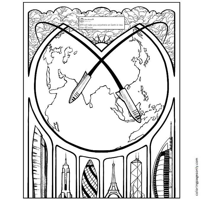 Inspiration of Elon Musk 4 Coloring Page