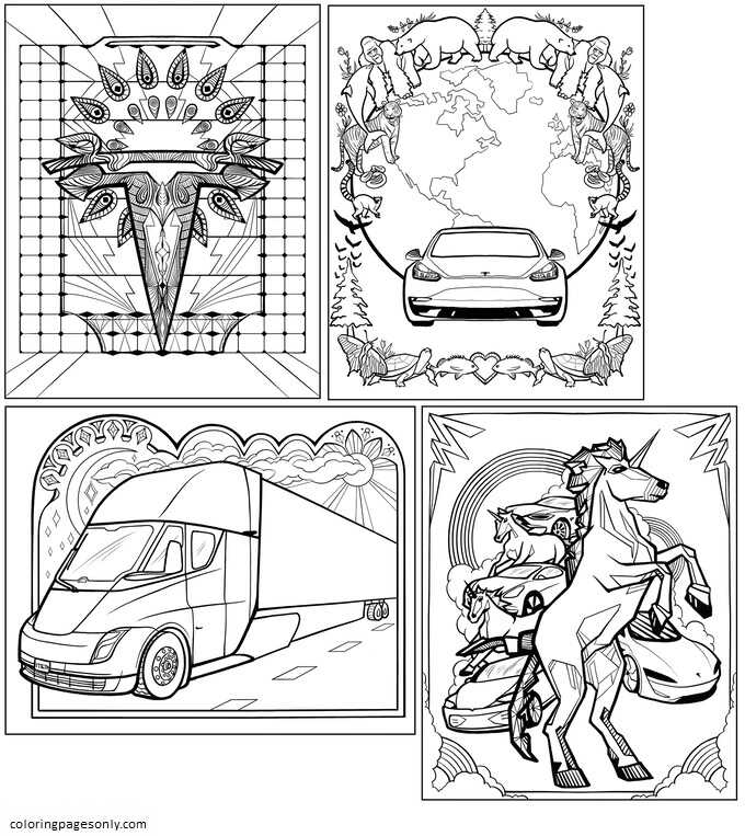 Inspiration of Elon Musk Coloring Page