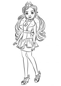 Shy and insecure little girl Jane from Descendants Coloring Page