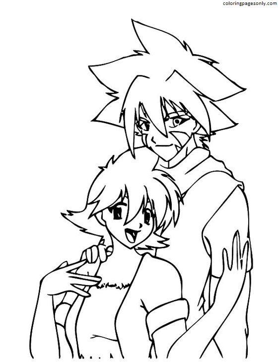 Kai And Girl Beyblade Coloring Page