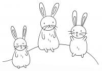 Kawaii bunnies on the moon Coloring Page