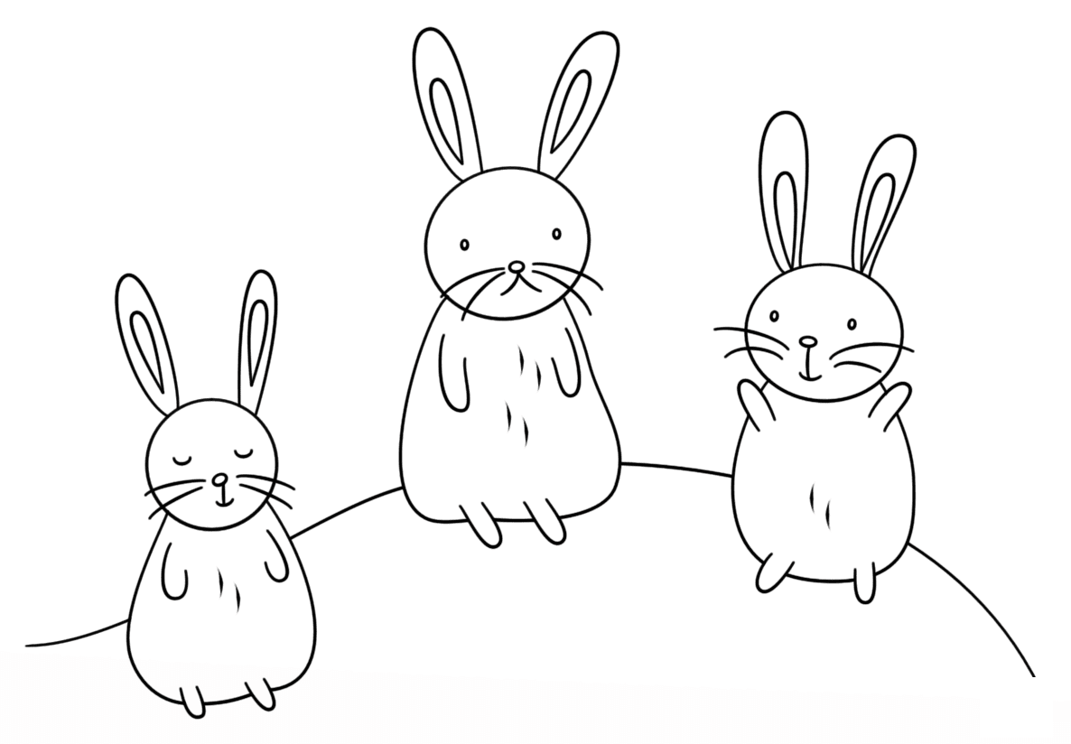 Kawaii bunnies on the moon Coloring Pages
