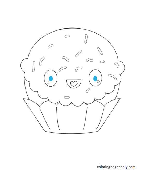 Kawaii Cupcake with Sparkles Coloring Page