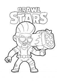 Common Brawler named Brock from Brawl Stars Coloring Page