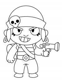 Penny from Brawl Stars deploys a mortar with ranged cannonballs Coloring Page