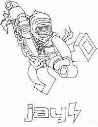 Ninjago Jay training with his nunchucks Coloring Page