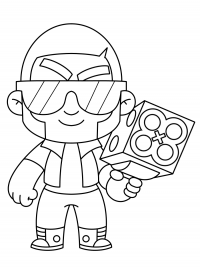Brock from Brawl Stars wears glasses and uses Rocket Laces Coloring Page