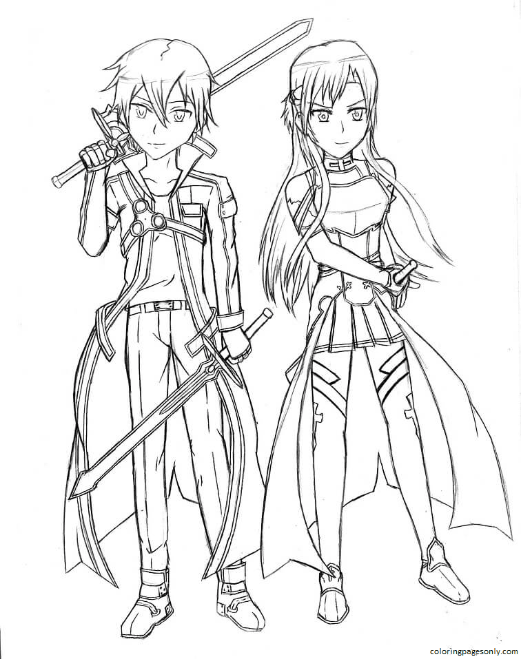 Kirito and Asuna from Sword Art Online Coloring Page